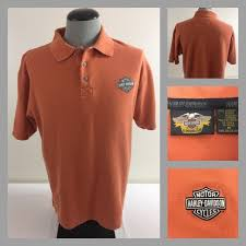 harley davidson motorcycles mens medium orange ss polo soft cotton riding shirt