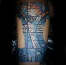abstract stained glass male with blue ink