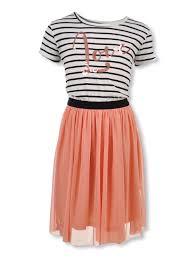 Kensie Girl Girls Sequin Love Mesh Skirted Dress