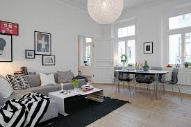 Apartment:Contemporary Apartment Design Ideas With Sectional Sofa And  Rounded Wooden Dining Table Contemporary Apartment