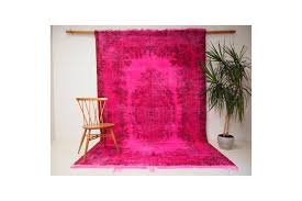 10 12 vibrant cerise pink over dyed vintage turkish rug