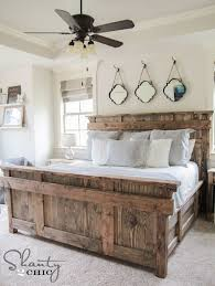 White rustic bedroom furniture Solid Wood King Bed Diy By Shanty2chic Free Woodworking Plans These Sisters Just Cant Make Pinterest Diy King Size Bed Free Plans Home Diy Farmhouse Bedroom Decor