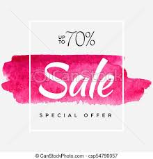 Watercolor Special Offer Super Sale Flyer Banner Poster Pamphlet Saving Upto 70 Off Vector Illustration With Abstract Paint Stroke