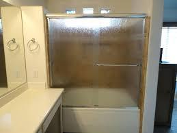 rain glass shower door soaking tub with rain glass shower doors recessed shampoo shelf bathroom using