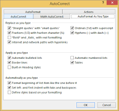 type of tab configure or turn off automatic text formatting autoformat