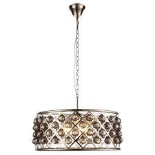 madison 6 light polished nickel royal cut silver shade grey pendant