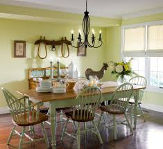 Nice Country Dining Room With Light Green Wall Colors And Western - Country dining room pictures