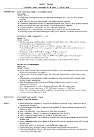 It Specialist Resume Sample Operations Specialist Resume Samples Velvet Jobs 11