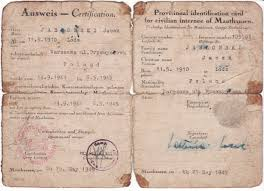 photo post liberation identification paper of former mauthausen post liberation identification paper of former mauthausen gusen concentration camp prisoner jacek jablonski