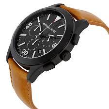 nwt michael kors men 039 s watch brown leather amp matte black nib michael kors men s watch brown leather matte black dial gareth mk8450 250