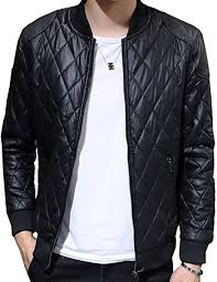 S S Mens Punk Stand Collar Solid Diamond Quilted Zpper