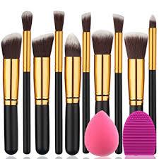 gold and black makeup brushes. beakey makeup brush set premium synthetic kabuki foundation face powder blush eyeshadow brushes kit gold and black t