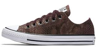 lyst converse chuck taylor all star fashion snake leather low top women s shoe in brown