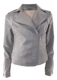 oasis detailed grey faux leather biker jacket with zip fastening