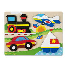 melissa doug chunky wooden jigsaw puzzle vehicles 4 puzzles in 1