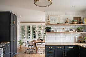 open shelves kitchen inspiration reveal with dark cabinets and shelving 2