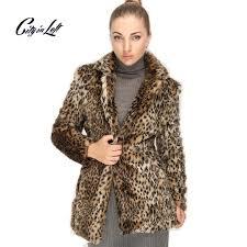 2016 plus size luxurious coats women faux fur warm jacket coat leopard fashion faux leather coat outwear faux open stitch 731
