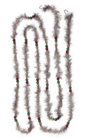 vintage silver tinsel garland w beads 9