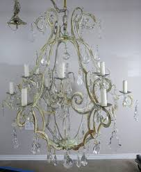 italian painted wrought iron 12 light chandelier c 1930 s