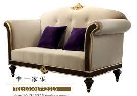 European neo classical fabric sofa three post modern wood furniture upscale hotel clubs Villa