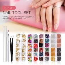 Types Of Nail Designs 48 Types Nail Art Rhinestones 3d Nail Art Round Mix Teardrop Heart Sticker Gems Deco Glitters Decoration Craft Tool Set Nail Art Books Nail Art Nails