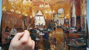 cafe people how to oil painting palette knife brush impressionism color mixing dusan