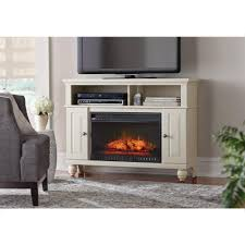tv stand infrared electric fireplace in washed linen