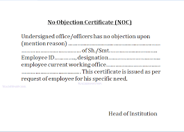 Has No Objection Sample Format Of No Objection Certificate From Employer] Sample Noc 1