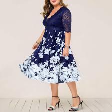 Elegant Women <b>Large Size</b> Dresses V-Neck Lace Long Sleeve Slim ...