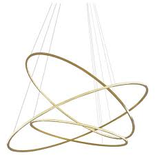 contemporary circular large lohja led three ring chandelier in polished brass for at 1stdibs