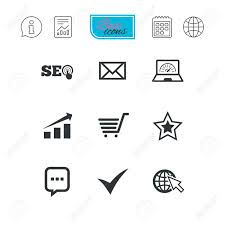 Internet Seo Icons Tick Online Shopping And Chart Signs Bandwidth