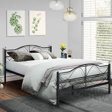 Queen Size Platform Bed Frame,Metal Slats Support with Headboard Storage,Easy Set up