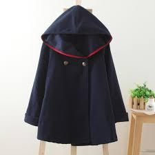 winter new vintage wool cloak preppy style sailor navy blue blends coat outerwear women plus size
