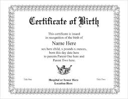 Birthday Certificate Templates Free Printable New Birth Certificate Template For Microsoft Word Aesthetecurator