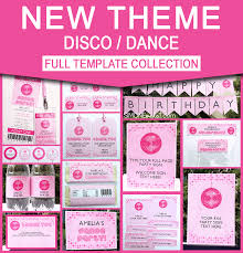 Childrens Disco Invitations Printable Disco Dance Party Invitations Decorations