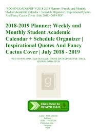 Monthly Academic Calendar Download Pdf 2018 2019 Planner Weekly And Monthly Student