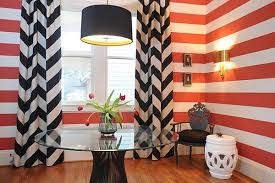 Black Curtains And Red Wall Stripes