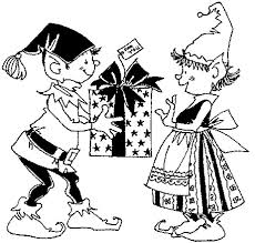 Small Picture Printable Christmas Coloring Page Boy and Girl Elves