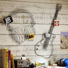 most up to date metal wire guitar wall decor art music wall sculpture wire headset intended on metal wire guitar wall art with displaying photos of guitar metal wall art view 9 of 15 photos