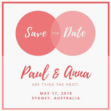 Pink Venn Diagram Save The Date Invitation Templates By Canva