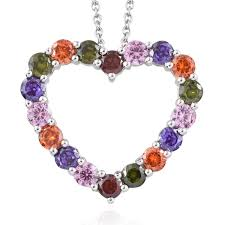 karis collection simulated multi gemstone platinum bond brass heart pendant with stainless steel chain 20 in tgw 8 26 cts