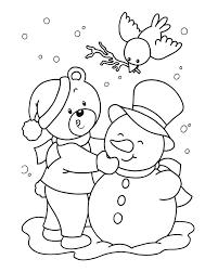 Kerstkleurplaat Sneeuwman Met Beer
