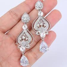 wedding bridal earrings pageant earrings chandelier earrings sparkling earrings silver plated cz crystal dangling teardrop earring vintage