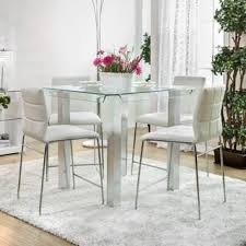 glass dining room table with extension. Contemporary Extension Furniture Of America Ezreal Contemporary Tempered Glass Silver Counter  Height Dining Table Throughout Room With Extension G