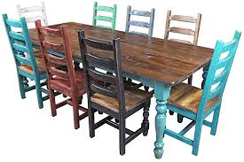 painted mexican furnitureMultiColor Mexican Colonial Painted Wood Dining Set  9 Piece