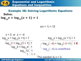 example 3d solving logarithmic equations