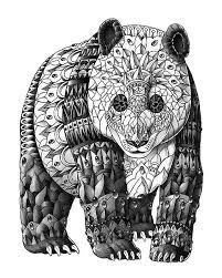 Panda Zentangle Coloring Pages Colouring Adult Detailed Advanced