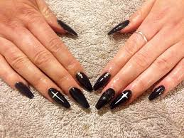 Coffin Black Nail Designs My First Set Of Gel Nails Black Coffin Shape With White