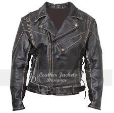 mens negan black brando lambskin durable motorcycle leather jacket front view