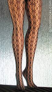 Patterned Hosiery Classy Black Patterned Tights With Crochet Lace